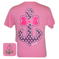 Girlie Girl Originals Anchor Bow Delta Neon Pink Bright T Shirt