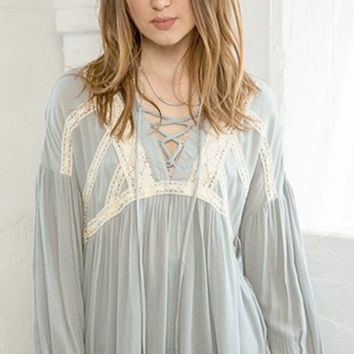 Sea Glass Tie Up Blouse