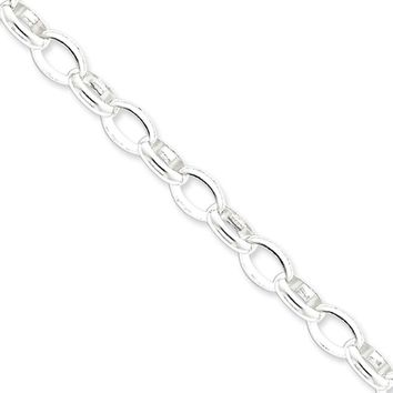 Men's 8mm, Sterling Silver Oval Solid Rolo Chain Necklace, 20 Inch