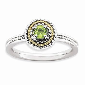 Sterling Silver & 14k Gold Stackable Expressions Sterling Silver Peridot Ring