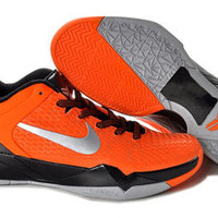 nike zoom kobe 7 vii elite black and orange silver mens basketball laker shoes