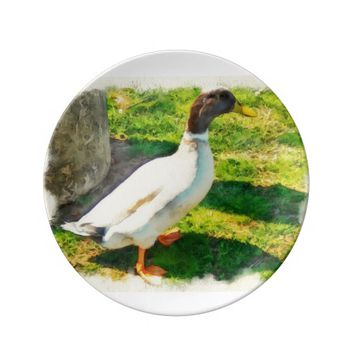 Decorative Porcelain Plate Unique Duck
