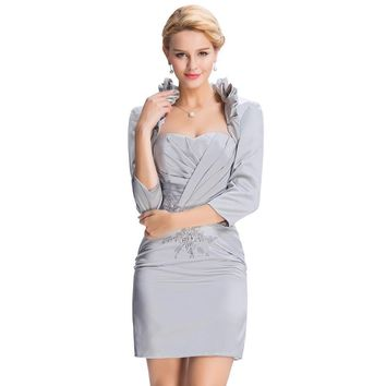 Elegant Gray Short Evening Dresses With Sleeves Jacket Grace Karin Women Formal Gowns Mother of the Bride Dresses