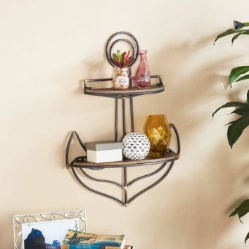 Wall Shelf Anchor Nautical Home Decor Floating Mount Display Shelving