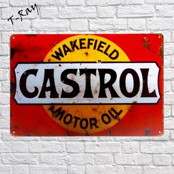 Metal Sign Gulf Castrol Motor Oil Vintage Tin Sign Wall sticker Tire Man Garage pub cafe wall decor