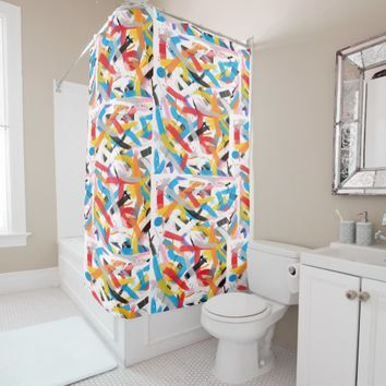 Positive Vibes Painting Shower Curtain
