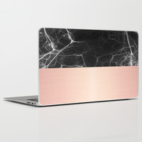 Black Marble and Pink  Laptop & iPad Skin by Cafelab