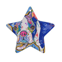 "Rebecca Fischer ""Addy Mae"" Pug Terrier Ceramic Star Ornament"