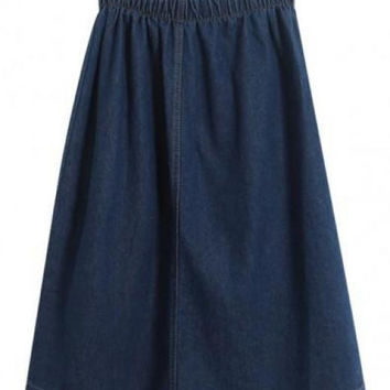 Vintage Kick Pleat Denim Skirt