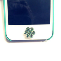 Adorable Mint Flower Crystal Button Sticker for iPhone Home Button Rhinestone Sparkle Phone Accessory Pretty Girly Charm FREE SHIPPING