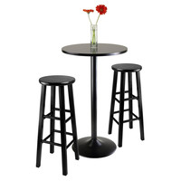 Obsidian 3-Piece Round Black Pub Table with two 29' Wood Stool Square Legs