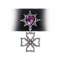 Alchemy Gothic Elizabethan Pink Heart Choker Necklace Pendant