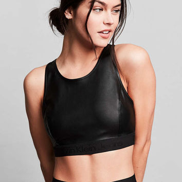Calvin Klein For UO Vegan Leather Cropped Top - Urban Outfitters