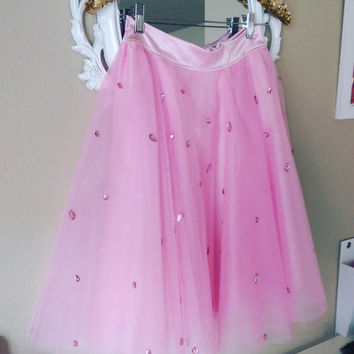 Barbie pink embellished Tulle skirt