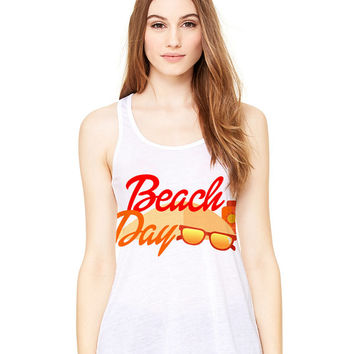 White Tank Top - Beach Day - Ladies Womens Racerback Beach Summer Outfit Spring Sand Sunglasses