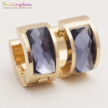 Yunkingdom high quality earrings stainless steel titanium rhinestone hoop earrings for women gift UE0343