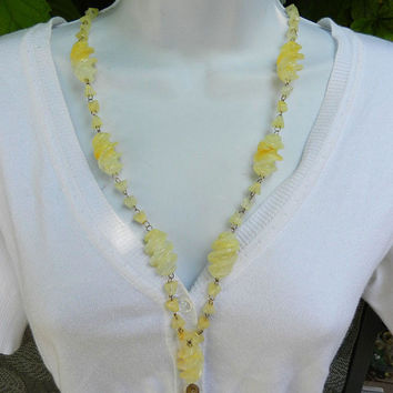 Vintage Yellow Swirl / Spiral Glass Bead Necklace, 1940's Unique Glass Bead Necklace