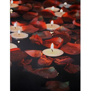 "LED Lighted Flickering Garden Party Floating Candles with Rose Petals Canvas Wall Art 15.75"" x 11.75"""