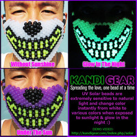 Wolf UV Solar Beads Kandi Mask, Change Color In Sunlight & Glow In The Night Only At KandiGear.com (Purple)