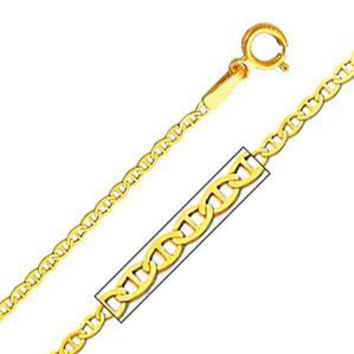 14K Yellow Gold 1.5 mm Flat Mariner Chain Necklace