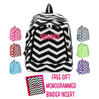 Monogrammed Large Chevron Print School Backpack W/ Free Binder Insert