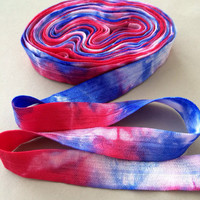 """5/8"""" Tie Dye Fold Over Elastic - Red White Blue - Hair Accessory Supplies"""