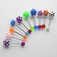 10pcs/lot surgical steel nipple tongue ring ball bar barbells body jewelry piercing