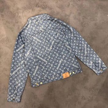 LV x Supreme Men  zipper Sweater The cowboy Coat
