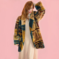 Vintage Donnybrook Faux Fur Coat World Map Compass Print Chubby Oversized Club Rave 80s XS