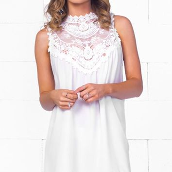 Indie XO Victorian Era White Sleeveless Sheer Lace Halter Neck Scalloped Hem Mini Dress - Just Ours! - Sold Out