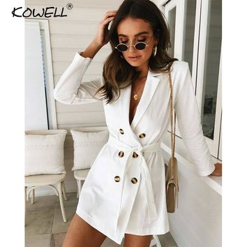Sexy button belt white female coat Women deep v neck elegant party daily long trench Autumn fashion casual outwear new