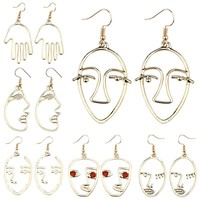 Fashion Simple Abstract Face Hand Earrings For Women Girls Metal Facial Contour Silhouette Drop Earrings Dangle Earings Brincos