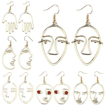 6ef9279da Fashion Simple Abstract Face Hand Earrings For Women Girls Metal