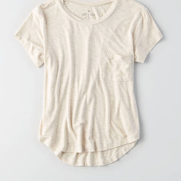 AEO Soft & Sexy Crew Pocket T-Shirt, Oatmeal Heather