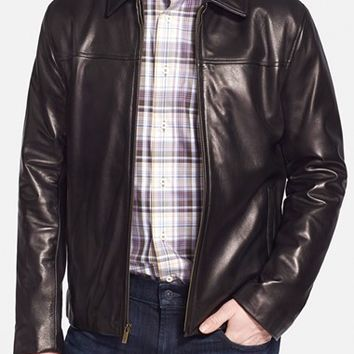 Men's Cole Haan Lambskin Leather Car Coat,