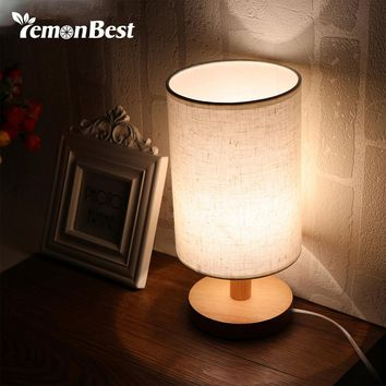 US Plug Minimalist Table Bedside Desk Lamp with Fabric Shade Solid Wood Base E27 Lamp Base for Bedroom Living Room Bookcase Cafe