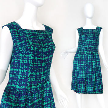 Vintage 60s Drop Waist Sleeveless Women's Dress - Blue and Green Sleeveless Bow Front Day Dress - Size 8 to 10