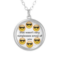 sunglasses emoji personalized necklace