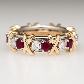 Tiffany & Co Schlumberger 16-Stone Diamond Ruby Ring Platinum & 18K Gold