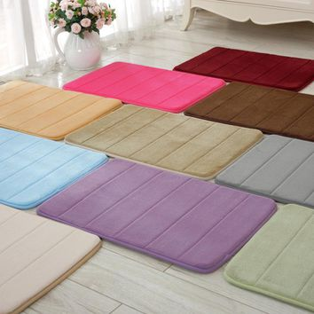 40x60cm Memory Foam Bath Mats Bathroom Horizontal Stripes Rug Non-slip Bath Mats B0