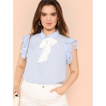 Plus Bow Embellished Layered Ruffle Top Blue