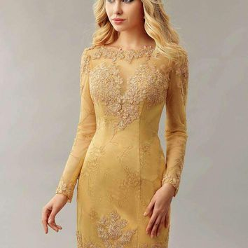 Gold Sheath Fitted Lace Homecoming Cocktail Dresses Long Sleeves Mini Informal Women Party Dress Photos