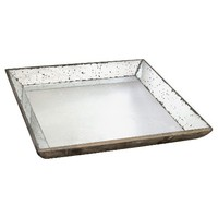 """Vintage Finish Mirrored Glass Tray - 20x20"""""""