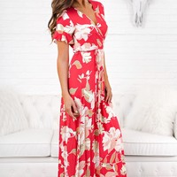 Back Again Floral Maxi Wrap Dress (Coral)