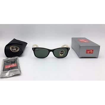 Cheap RAY BAN NEW WAYFARER RB2132 875 TOP BLACK ON BEIGE FRAME CRYSTAL GREEN G-15 55mm