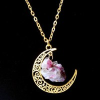 Gold Moon Crystal Necklace