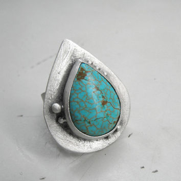 Turquoise Ring Gemstone Statement Cocktail Sterling Silver. Turquoise Natural Stone. Metalsmith Big Chunky Metalwork BOHO Jewelry