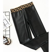 FENDI Trending Women Sexy PU Leather High Waist Black Pants Trousers