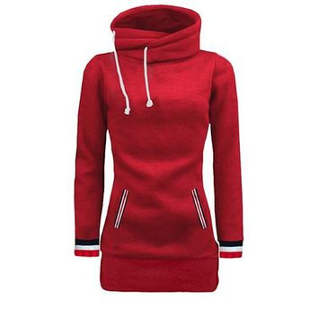 [15822] Funnel Neck Side Drawstring Hoodie