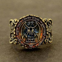 Cthulhu R'lyeh Sigil Ring inspired by H.P. Lovecraft Ring Glass Photo cabochon